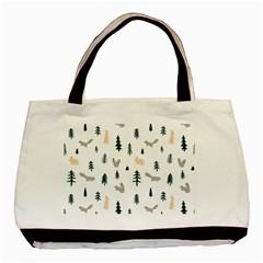 Squirrel Rabbit Tree Animals Snow Basic Tote Bag