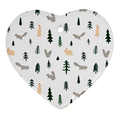 Squirrel Rabbit Tree Animals Snow Heart Ornament (two Sides)