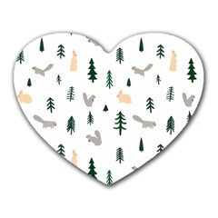 Squirrel Rabbit Tree Animals Snow Heart Mousepads