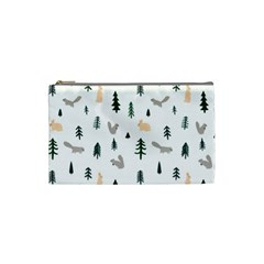 Squirrel Rabbit Tree Animals Snow Cosmetic Bag (small)