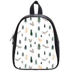 Squirrel Rabbit Tree Animals Snow School Bag (small)