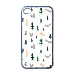 Squirrel Rabbit Tree Animals Snow Apple Iphone 4 Case (black)