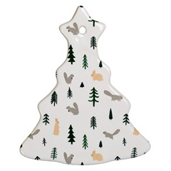 Squirrel Rabbit Tree Animals Snow Christmas Tree Ornament (two Sides)