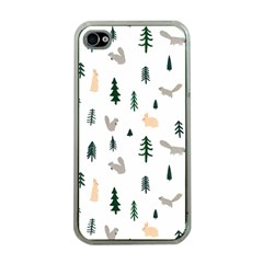 Squirrel Rabbit Tree Animals Snow Apple Iphone 4 Case (clear)