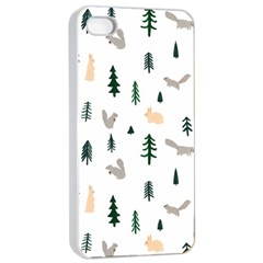 Squirrel Rabbit Tree Animals Snow Apple Iphone 4/4s Seamless Case (white)