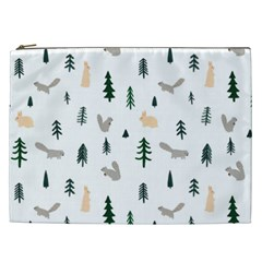 Squirrel Rabbit Tree Animals Snow Cosmetic Bag (xxl)