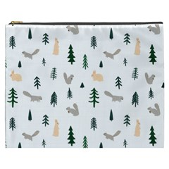 Squirrel Rabbit Tree Animals Snow Cosmetic Bag (xxxl)