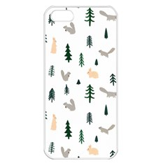 Squirrel Rabbit Tree Animals Snow Apple Iphone 5 Seamless Case (white)