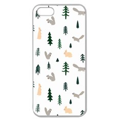 Squirrel Rabbit Tree Animals Snow Apple Seamless Iphone 5 Case (clear)