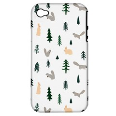 Squirrel Rabbit Tree Animals Snow Apple Iphone 4/4s Hardshell Case (pc+silicone)