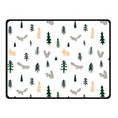 Squirrel Rabbit Tree Animals Snow Double Sided Fleece Blanket (small)