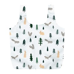 Squirrel Rabbit Tree Animals Snow Full Print Recycle Bags (l)