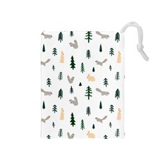 Squirrel Rabbit Tree Animals Snow Drawstring Pouches (medium)