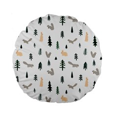 Squirrel Rabbit Tree Animals Snow Standard 15  Premium Flano Round Cushions