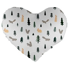 Squirrel Rabbit Tree Animals Snow Large 19  Premium Flano Heart Shape Cushions by Alisyart