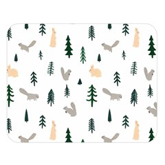 Squirrel Rabbit Tree Animals Snow Double Sided Flano Blanket (large)