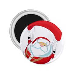 Skydiving Christmas Santa Claus 2 25  Magnets