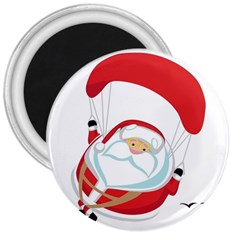 Skydiving Christmas Santa Claus 3  Magnets