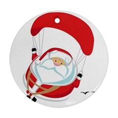 Skydiving Christmas Santa Claus Ornament (round)