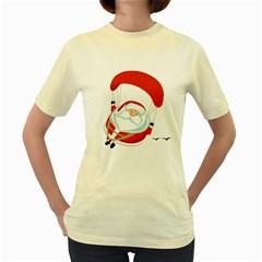 Skydiving Christmas Santa Claus Women s Yellow T Shirt