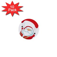 Skydiving Christmas Santa Claus 1  Mini Buttons (10 Pack)