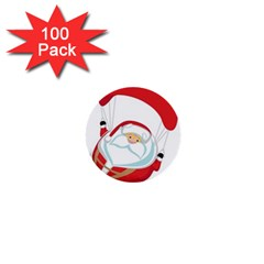 Skydiving Christmas Santa Claus 1  Mini Buttons (100 Pack)
