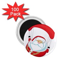 Skydiving Christmas Santa Claus 1 75  Magnets (100 Pack)  by Alisyart