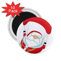 Skydiving Christmas Santa Claus 2 25  Magnets (10 Pack)
