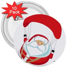 Skydiving Christmas Santa Claus 3  Buttons (10 Pack)