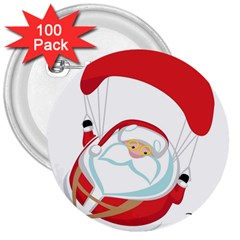 Skydiving Christmas Santa Claus 3  Buttons (100 Pack)  by Alisyart