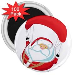Skydiving Christmas Santa Claus 3  Magnets (100 Pack)