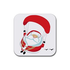 Skydiving Christmas Santa Claus Rubber Coaster (square)