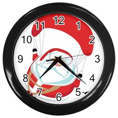 Skydiving Christmas Santa Claus Wall Clocks (black)