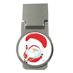 Skydiving Christmas Santa Claus Money Clips (round)