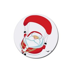 Skydiving Christmas Santa Claus Rubber Round Coaster (4 Pack)