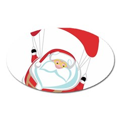 Skydiving Christmas Santa Claus Oval Magnet
