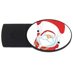 Skydiving Christmas Santa Claus Usb Flash Drive Oval (2 Gb)