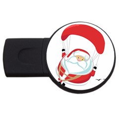 Skydiving Christmas Santa Claus Usb Flash Drive Round (4 Gb) by Alisyart