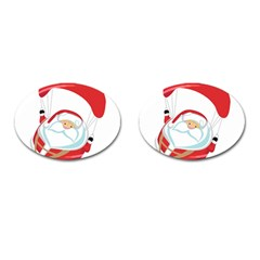 Skydiving Christmas Santa Claus Cufflinks (oval) by Alisyart