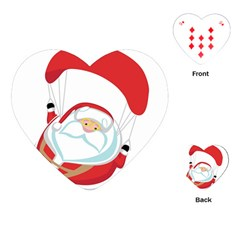 Skydiving Christmas Santa Claus Playing Cards (heart)