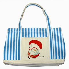 Skydiving Christmas Santa Claus Striped Blue Tote Bag