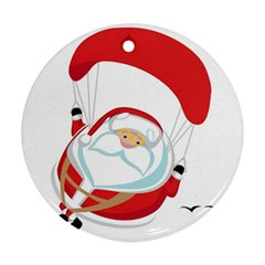 Skydiving Christmas Santa Claus Round Ornament (two Sides)