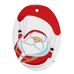 Skydiving Christmas Santa Claus Oval Ornament (two Sides)