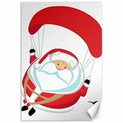 Skydiving Christmas Santa Claus Canvas 12  X 18