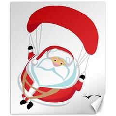 Skydiving Christmas Santa Claus Canvas 20  X 24