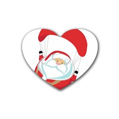 Skydiving Christmas Santa Claus Rubber Coaster (heart)
