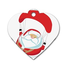 Skydiving Christmas Santa Claus Dog Tag Heart (one Side)