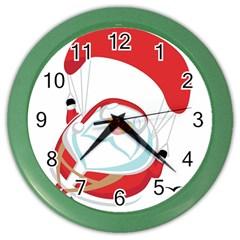 Skydiving Christmas Santa Claus Color Wall Clocks