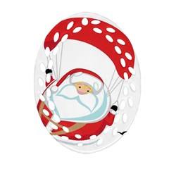 Skydiving Christmas Santa Claus Ornament (oval Filigree)