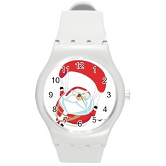 Skydiving Christmas Santa Claus Round Plastic Sport Watch (m)